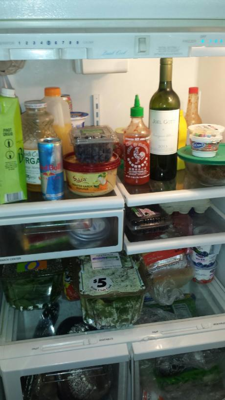 The inside of his fridge.