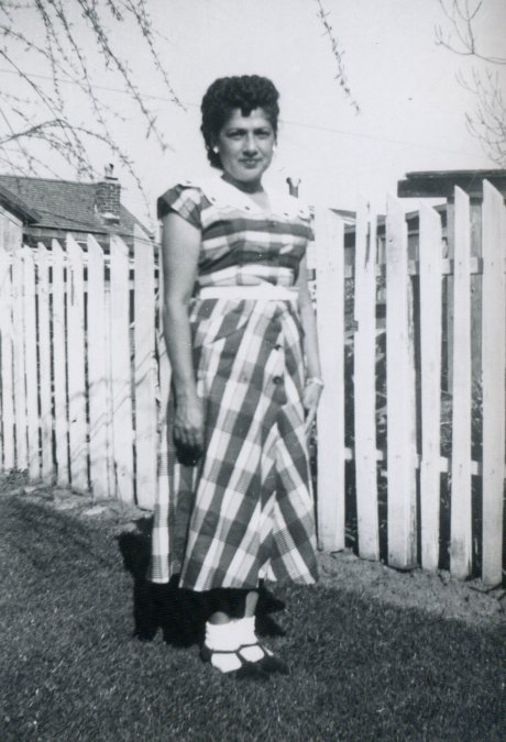 Grandma in the backyard, 1946.