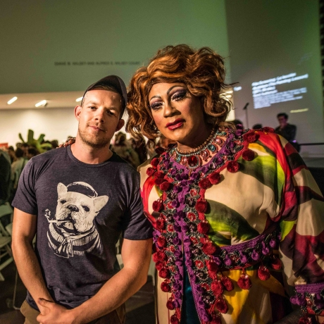 Russell and I at The deYoung Museum for the Tiara Sensation Pageant - an annual drag show!